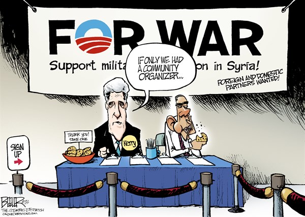 For War cartoon Obama Kerry