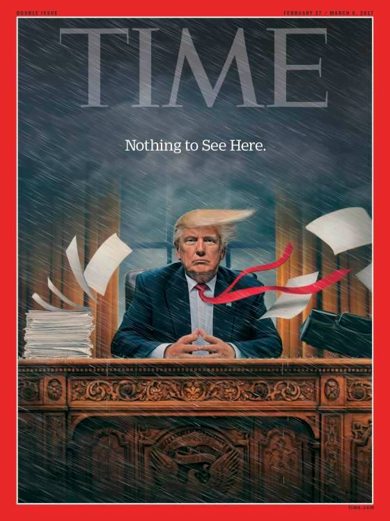 "An illustration of Donald Trump sitting at a desk. Wind is blowing papers and his hair to the side. Rain pelts down. It says, ""Nothing to see here."""